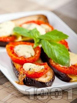 Патладжаново предястие с домати и синьо сирене - снимка на рецептата